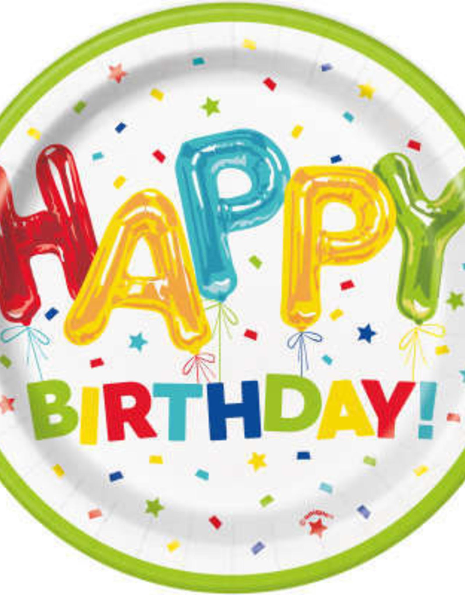 "Balloon Happy Birthday 7"" Dessert Plates"