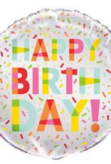 """'Happy Birthday!' Sprinkle 18"""" Mylar"""