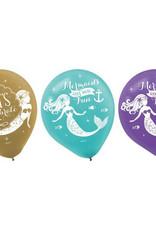 """Mermaid 6 Pack 12"""" Latex Balloons"""