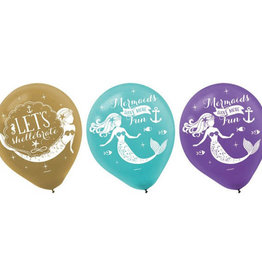 "Mermaid 6 Pack 12"" Latex Balloons"