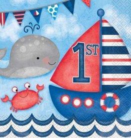 Nautical 1st Birthday Luncheon Napkins 16 ct