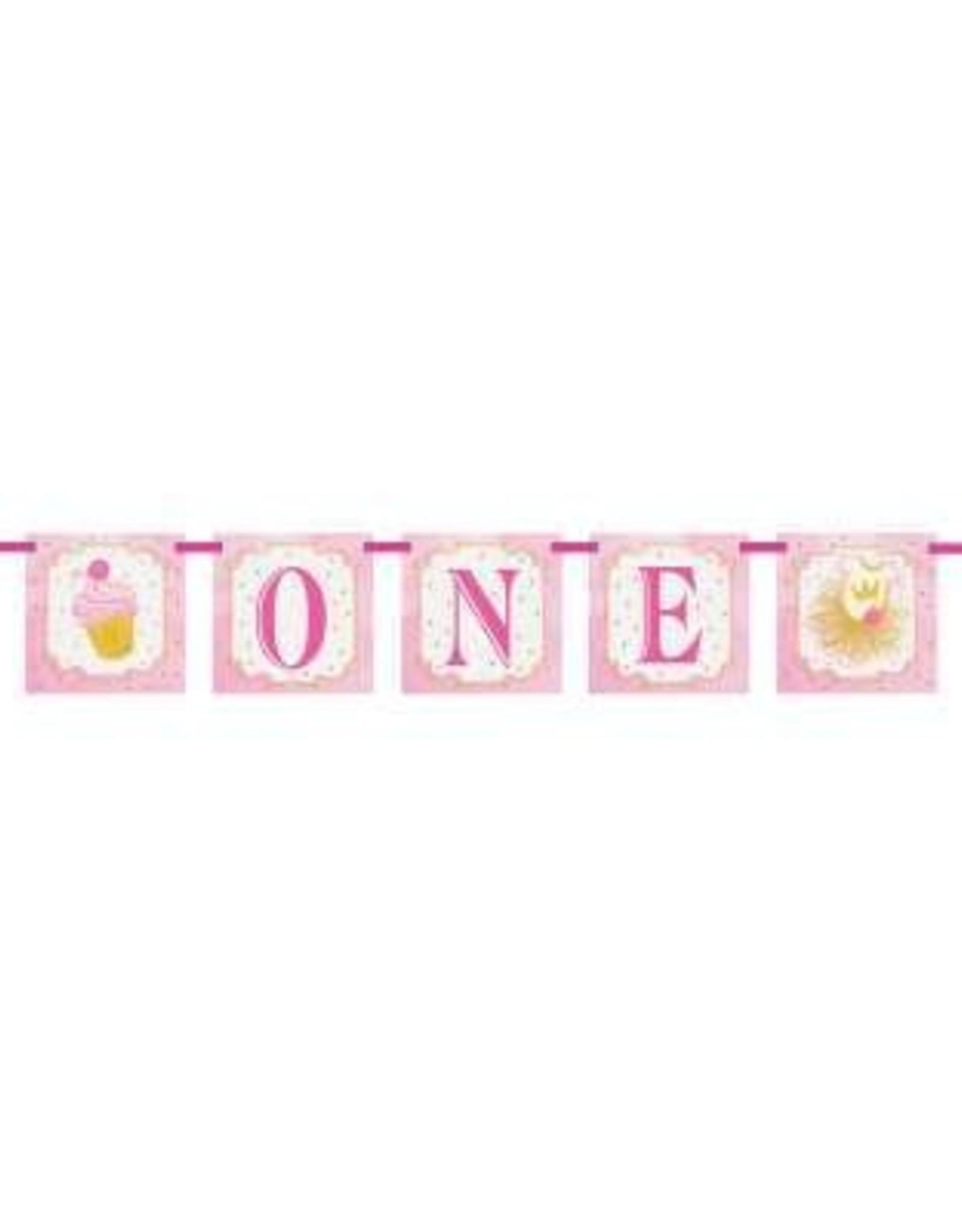 Pink 'One' 1st Birthday Block Banner