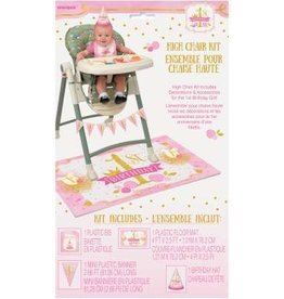 Pink and Gold 1st Birthday Highchair Kit