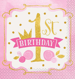 First Birthday Pink & Gold Beverage Napkins