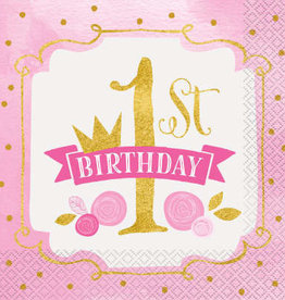 Pink & Gold First Birthday Luncheon Napkins 16ct