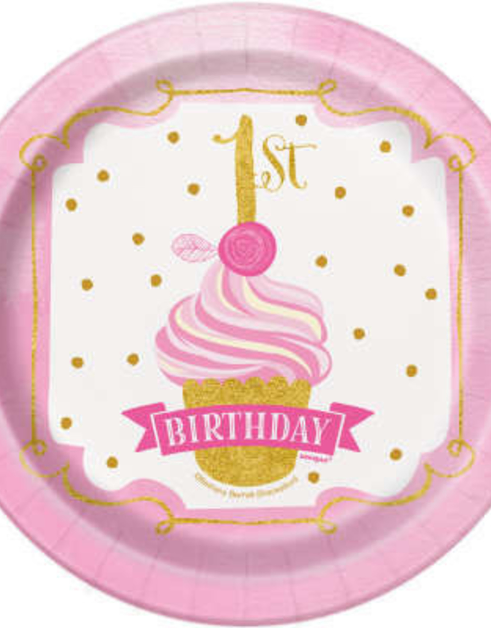 1st Birthday Pink & Gold Paper Plates 7""