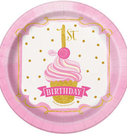 """1st Birthday Pink & Gold Paper Plates 7"""""""