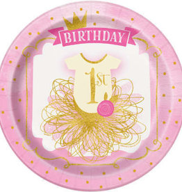 """1st Birthday Pink & Gold Paper Plates 9"""""""