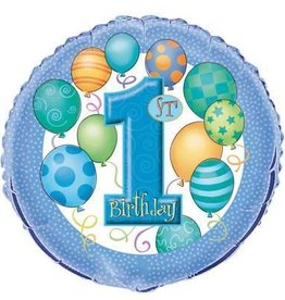 """1st Birthday Foil Balloon-Blue With Balloons 18"""""""
