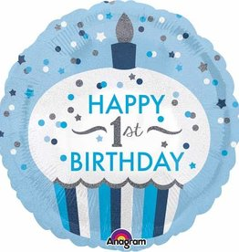 First Birthday Foil Balloon-Blue Cupcake 18""