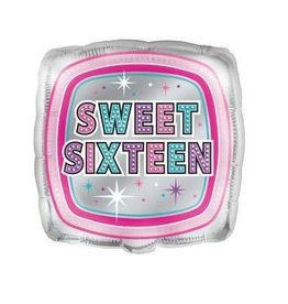 "Sweet Sixteen Square Silver and Pink 18"" Mylar"
