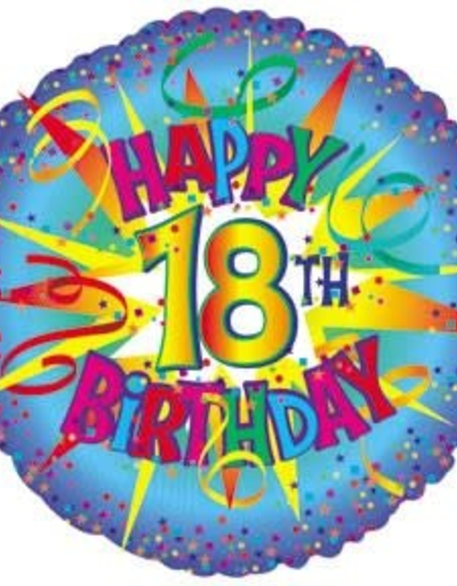 "'Happy 18th Birthday' Star Burst Foil Balloon 18"""