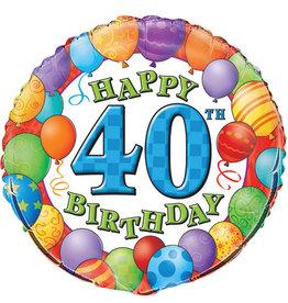 "Happy 40th Birthday Foil Balloon 18"""