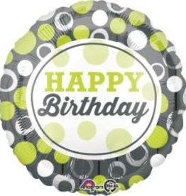 Happy Birthday Green Dots Foil Balloon 18""