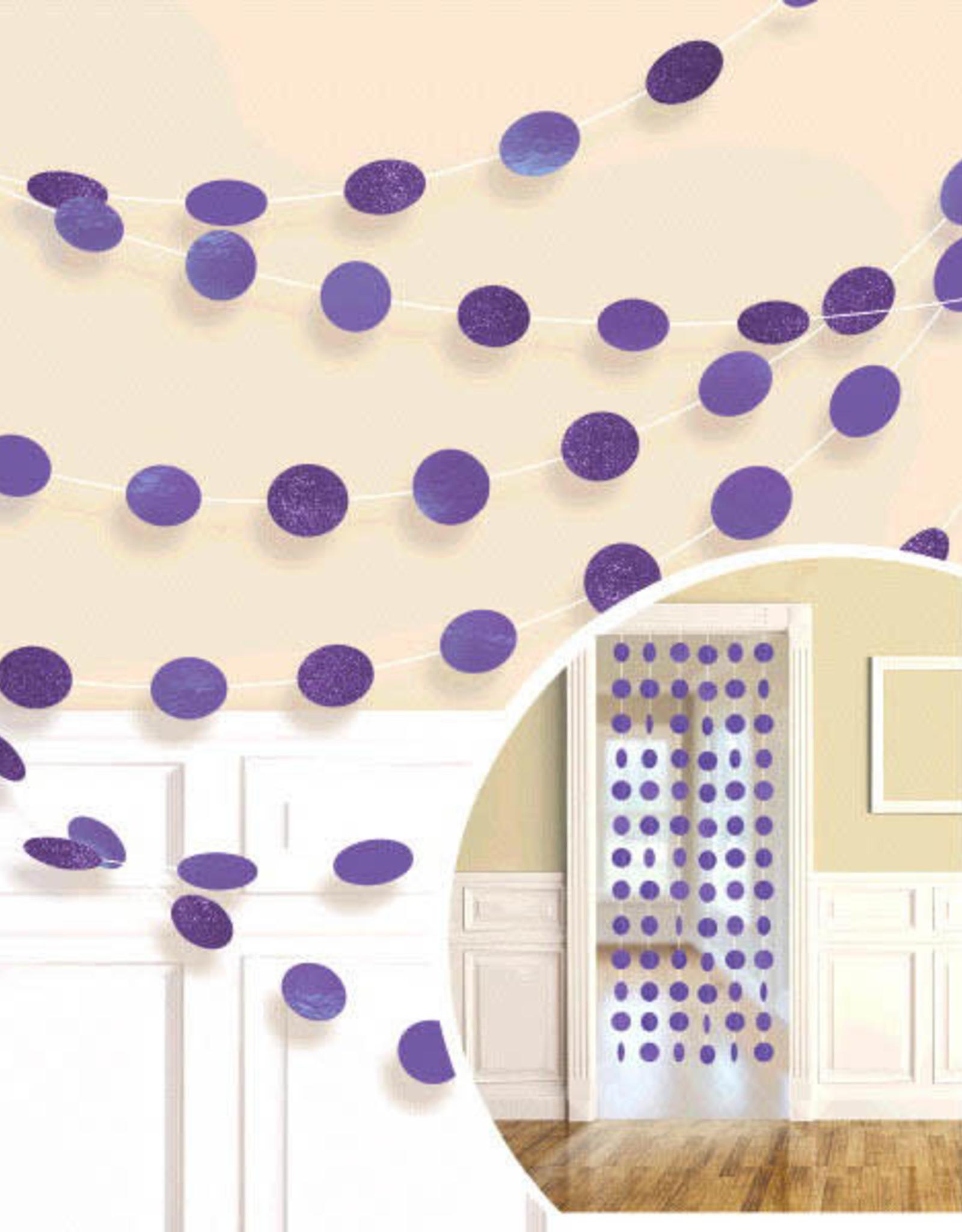 Glitter Purple Polka Dot String Decorations