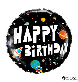 'Happy Birthday' Space Themed Foil Balloon 18""