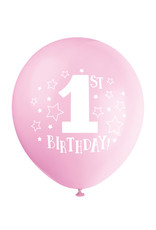 "'1st Birthday!' Pink 12"" Latex Pack of 8"