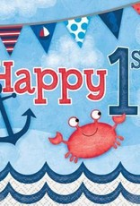 Nautical First Birthday Beverage Napkins 16ct