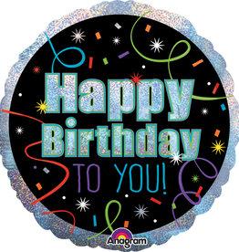 "'Happy Birthday To You!' Sparkly Foil Balloon 18"""