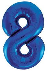 "34"" Blue Number 8 Mylar Balloon"