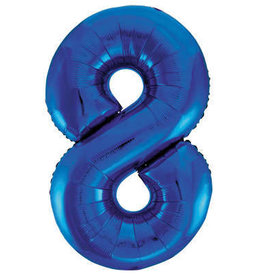 "34"" Blue Number 8 Mylar Balloon"