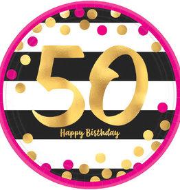 "50th Birthday Pink & Gold Metallic 7"" Dessert Plates"