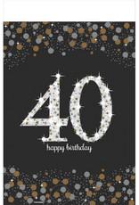 40th Birthday Plastic Rectangular 6FT Tablecloth