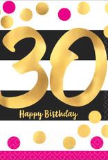 30th Birthday Pink and Gold Metallic Luncheon Napkins 16pk