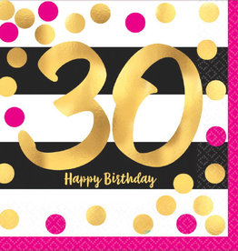 30th Birthday Pink and Gold Metallic Luncheon Napkins 16pk