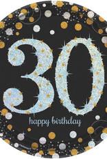 "30th Birthday Black and Silver Sparkling Celebration Dinner Plates 9"" 8pk"