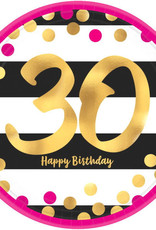 "30th Birthday Pink and Gold Metallic Plates 9"" 8pk"