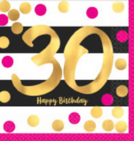30th Birthday Pink and Gold Beverage Napkins