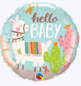 "Hello Baby Llama Foil Balloon 18"""