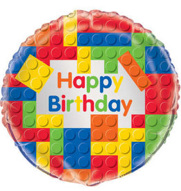 "'Happy Birthday' Lego Block Foil Balloon 18"""