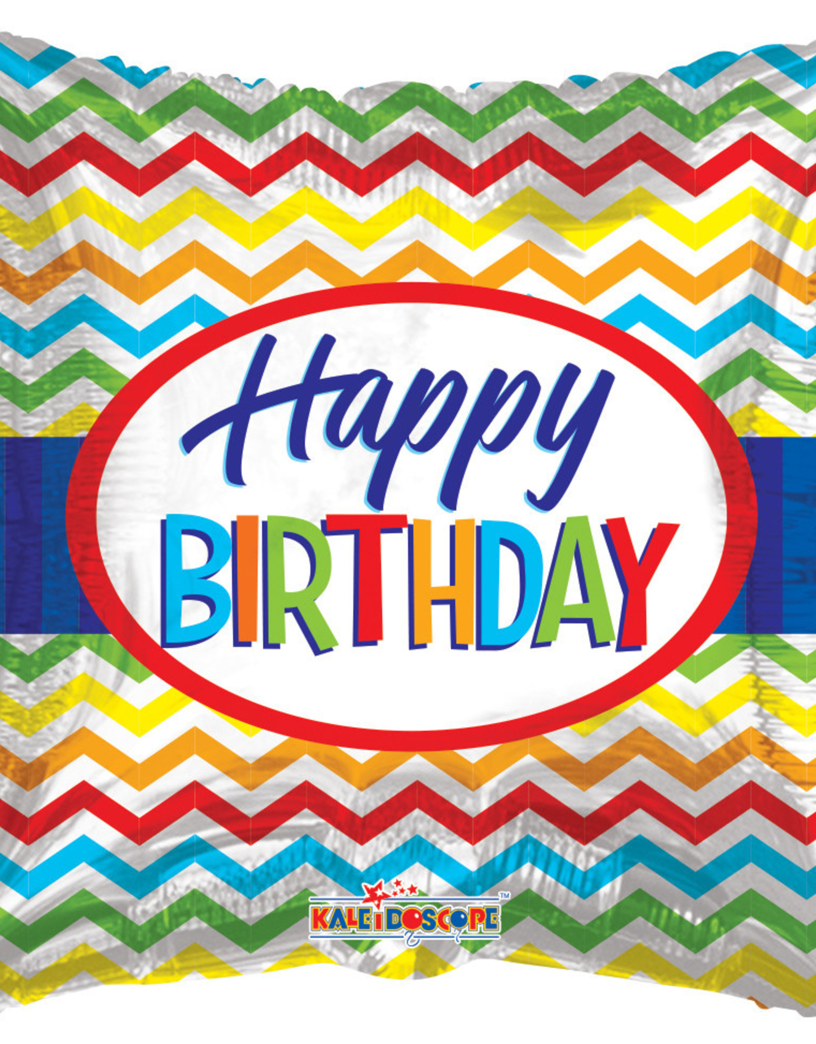 "Happy Birthday  Chevron Foil Balloon 18"""