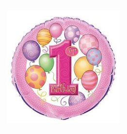 1st Birthday Foil Balloon-Pink With Balloons 18""