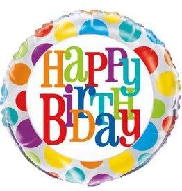 "Rainbow Dot Happy Birthday Foil Balloon 18"""