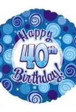 "Blue Happy 40th Birthday Foil Balloon 18"""