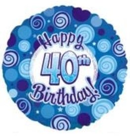 Blue Happy 40th Birthday Foil Balloon 18""