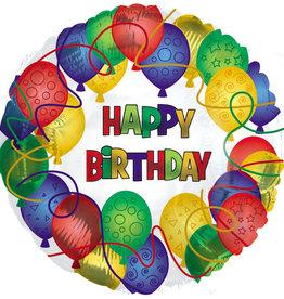"""Happy Birthday Many Balloons Foil Balloon 18"""""""