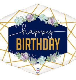 Happy Birthday Navy Flowers Foil Balloon 30""