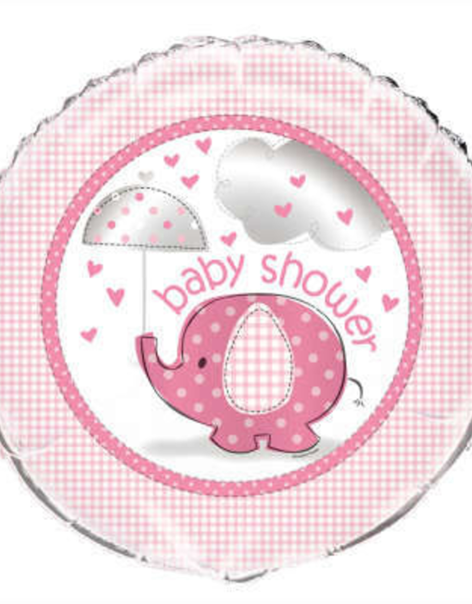 """Pink Elephant 'Baby Shower' Foil Balloon18"""""""