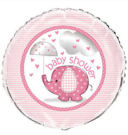 Pink Elephant 'Baby Shower' Foil Balloon18""