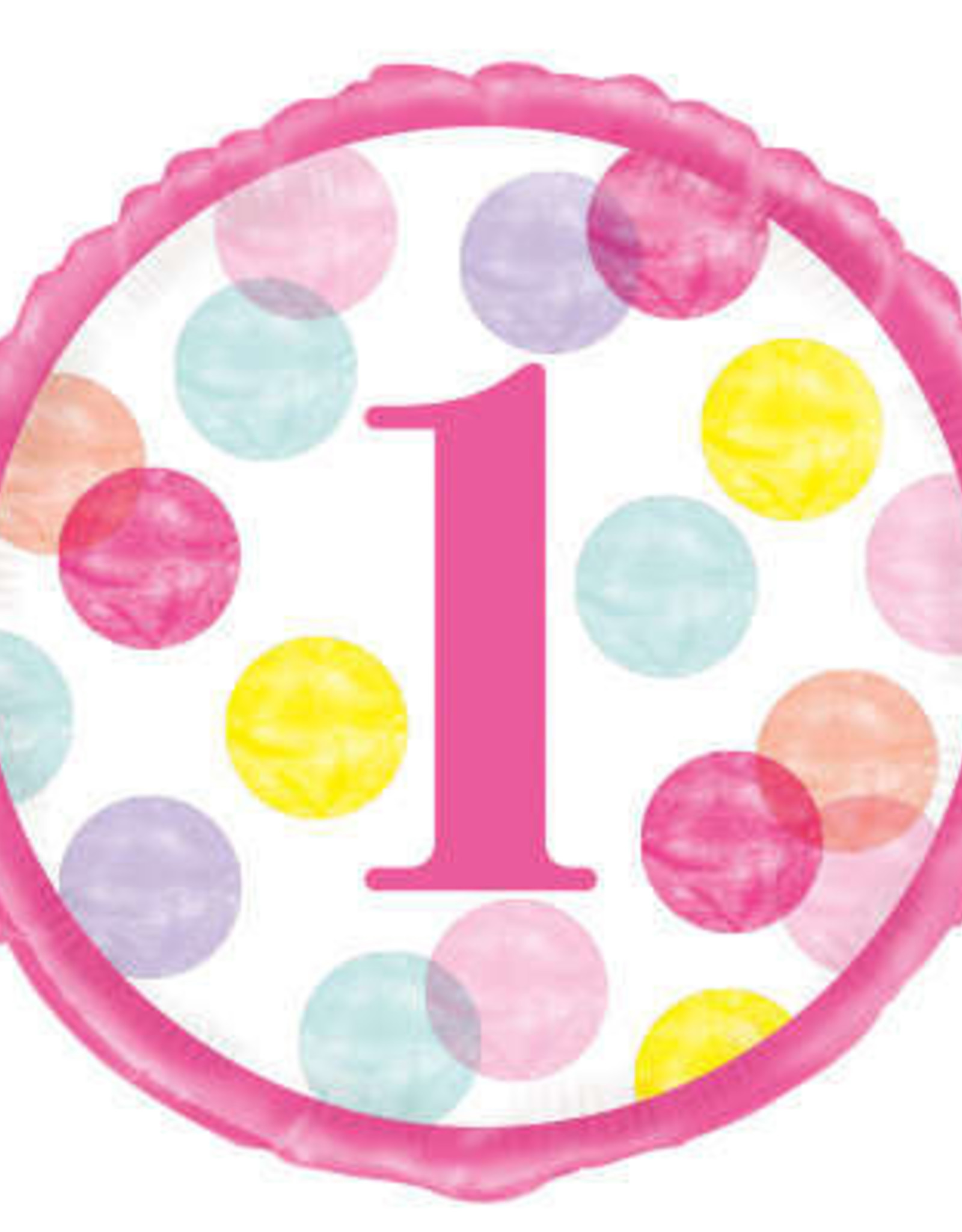 """1st Birthday Foil Balloon-Pink Dot Number 1, 18"""""""