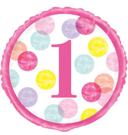 1st Birthday Foil Balloon-Pink Dot Number 1, 18""