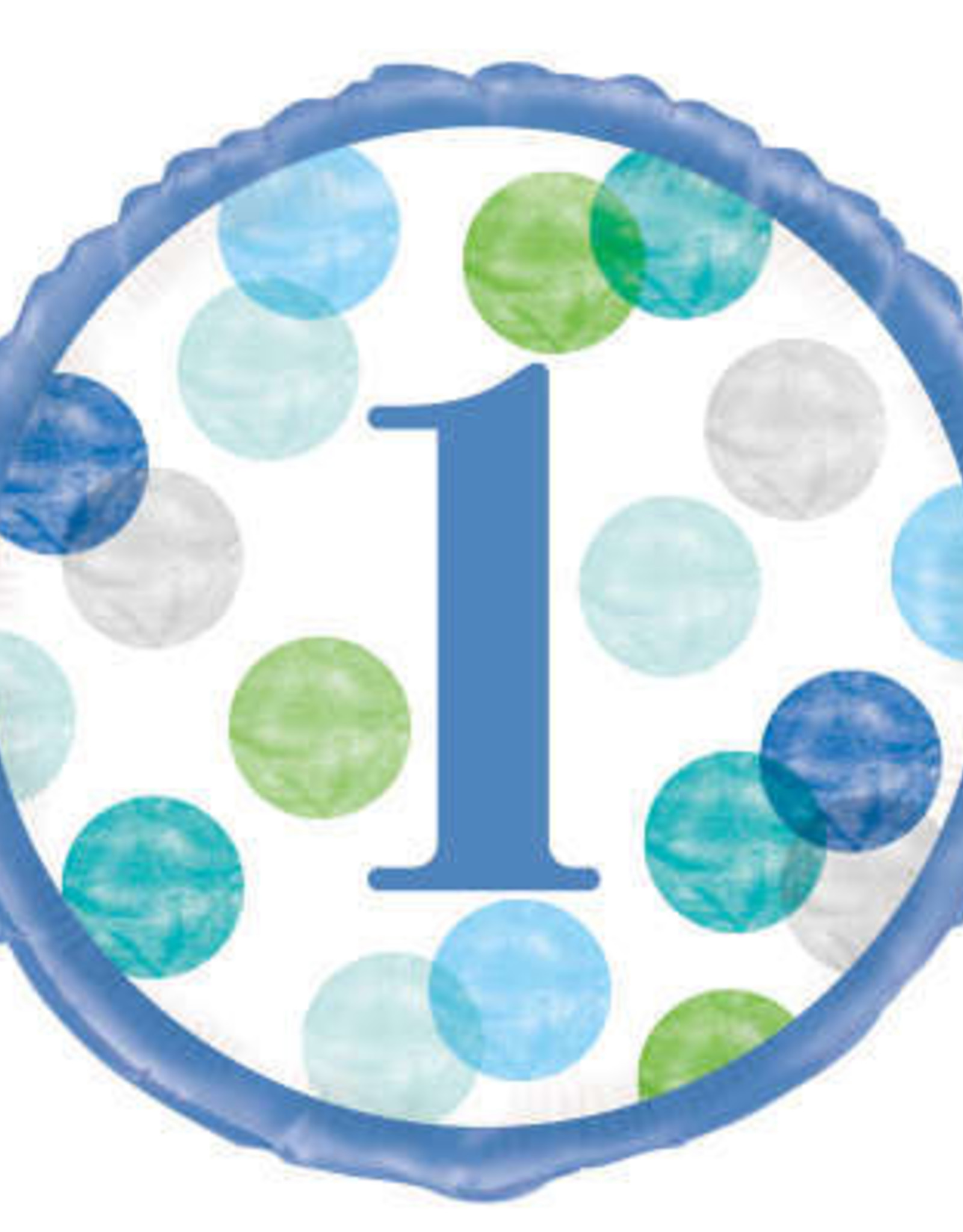 """1st Birthday Foil Balloon- Blue Dots Number 1, 18"""""""