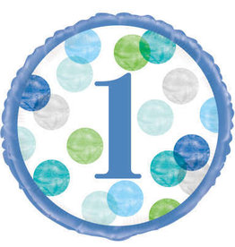 1st Birthday Foil Balloon- Blue Dots Number 1, 18""