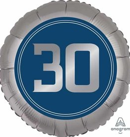 30th Birthday Blue And Silver Foil Balloon 18""