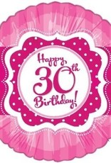 Pink Happy 30th Birthday Foil Balloon 18""