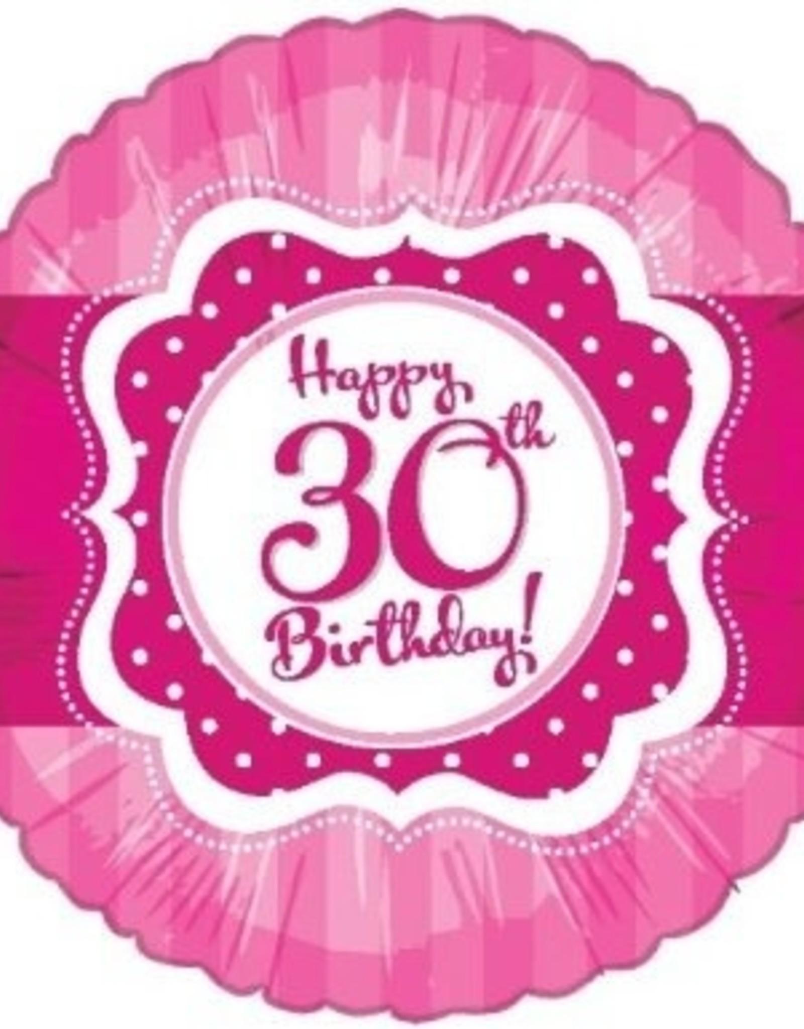 "Pink Happy 30th Birthday Foil Balloon 18"""
